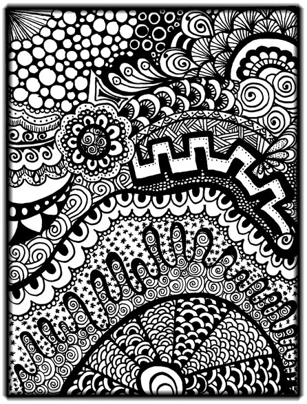 Black-and-white zentangle from my art journal
