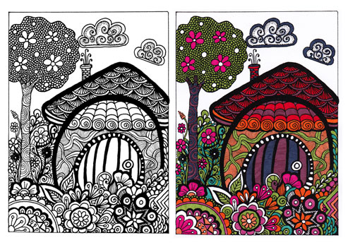 Free Coloring Page 4 - Forest House for coloring