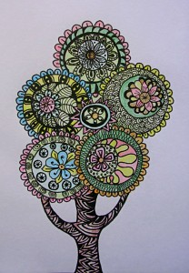 zentangle color tree 1