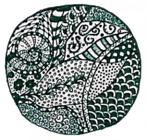 green leaf zentangle