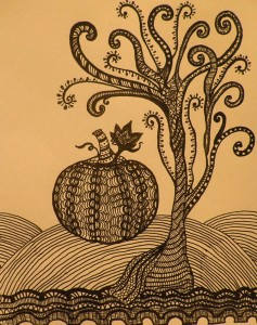 A pumpkin and a tree zendoodle