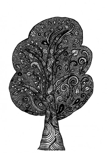 Zentangle Tree, black-and-white