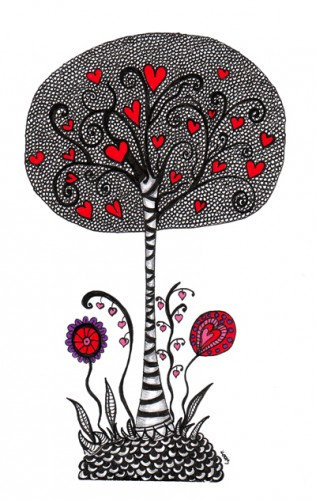 Zentangle Valentine Tree