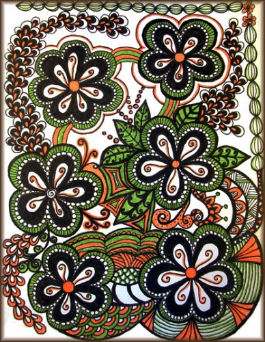 Green and Orange Flower Tangle