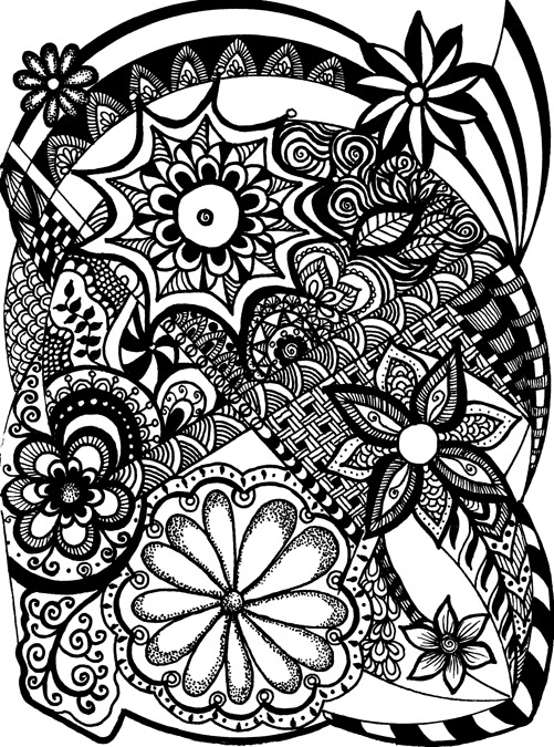 Black-and-white zentangle with several flowers