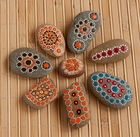 Stones dot painted with acrylic paints