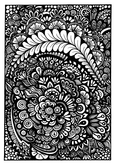 Black-and-White Floral Zentangle, available as a free coloring page for download