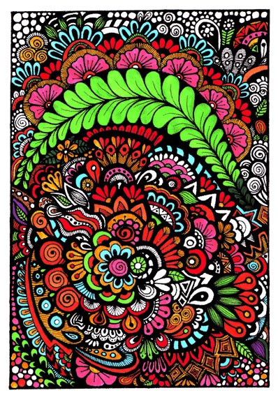 Free coloring page 2 - Floral Zentangle - Colored Sample