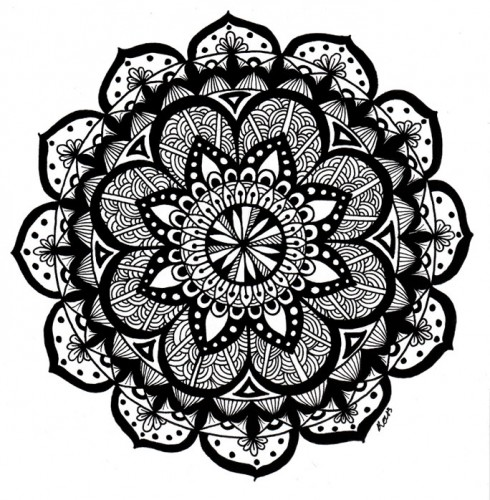 A black-and-white mandala