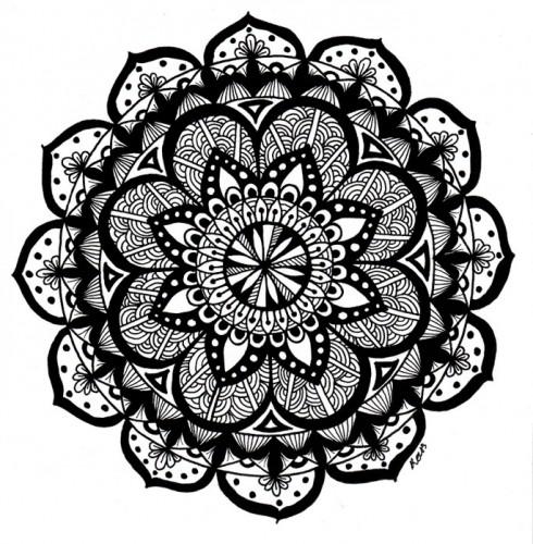 A black-and-white mandala