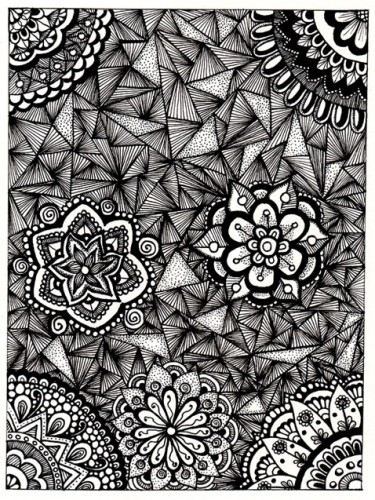 A full page black-and-wihte zentangle from my art journal