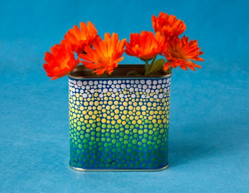 Dot Painted Mandala Tin Marigolds Back, Acrylic Paints