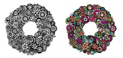 Floral zentangle mandala for coloring