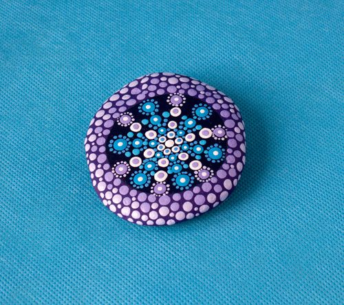 Purple Blue Mandala Stone, Acrylic Paints