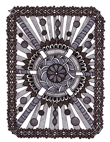 Grey Zentangle Design, Faber-Castell Shades of Grey pitt artist pens