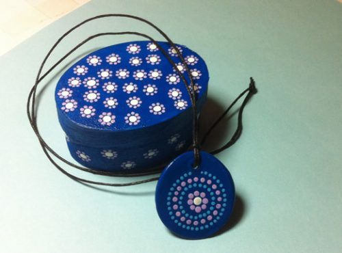 Veneer box and air-dry clay pendant painted with acrylic paints