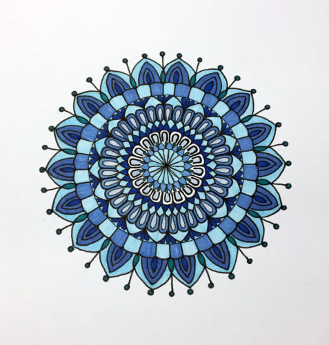 Shades of Blue Mandala, Faber-Castell brush pens blue set