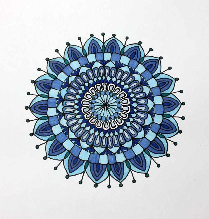 Shades Of Blue Mandala Faber Castell Brush Pens Set